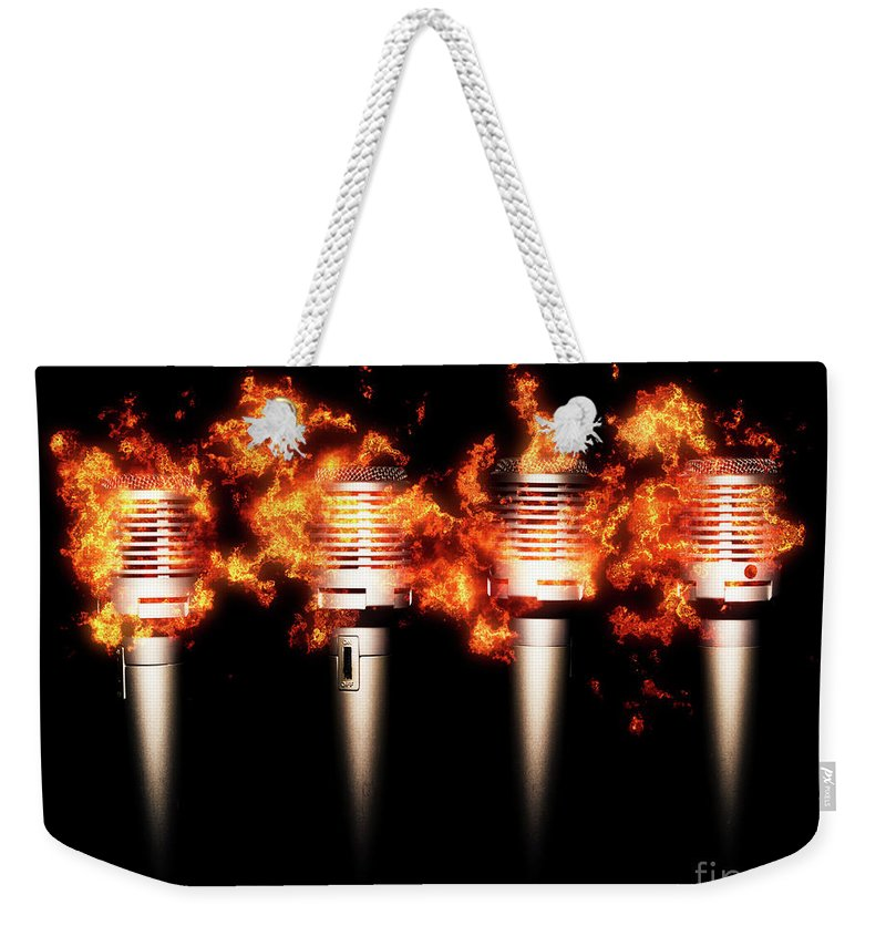 Fire Weekender Tote Bag featuring the photograph Singeing Stage Show by Jorgo Photography - Wall Art Gallery