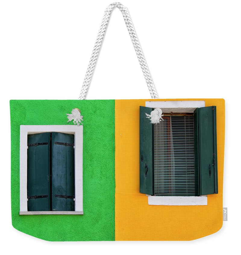 Tranquility Weekender Tote Bag featuring the photograph Sisters Windows, Burano, Italy by Stefan Cioata