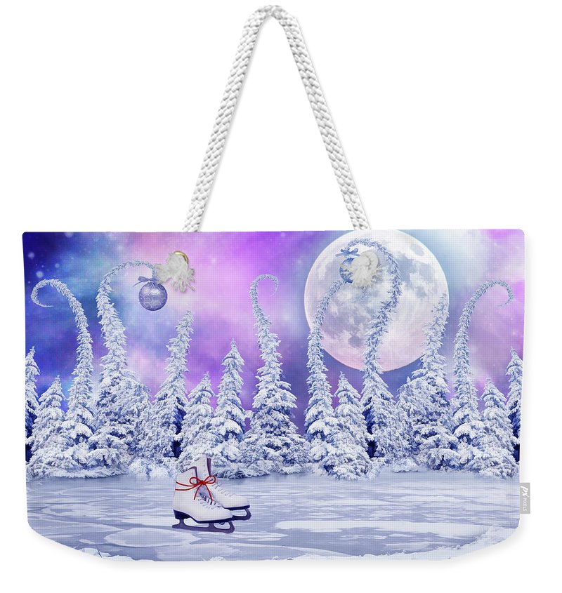Christmas Weekender Tote Bag featuring the digital art Skating Time by Mihaela Pater