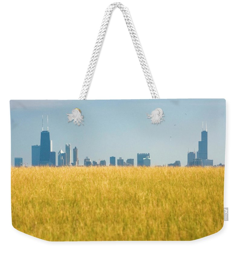 Grass Weekender Tote Bag featuring the photograph Skyscrapers Arising From Grass by By Ken Ilio