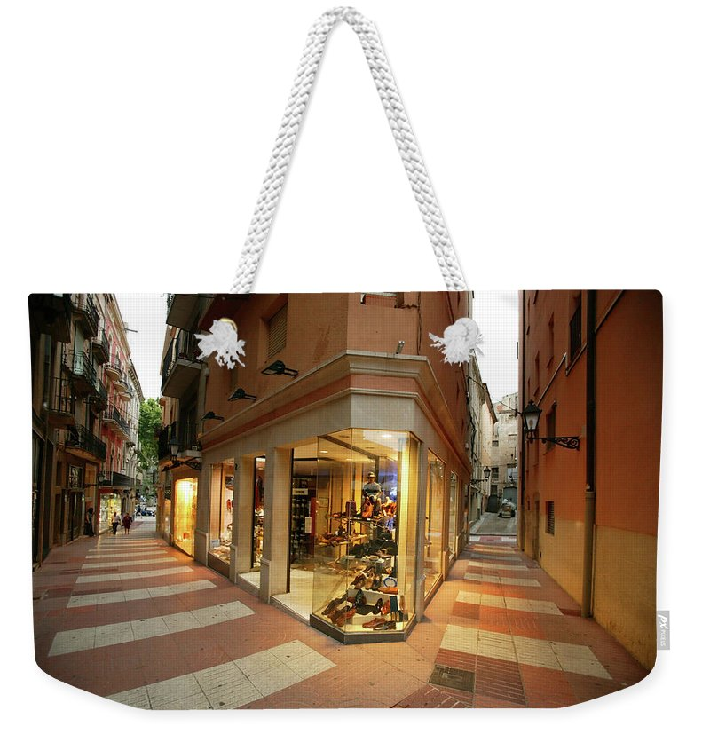 Pedestrian Weekender Tote Bag featuring the photograph Small Shopping Street Figueras Spain by Mlenny