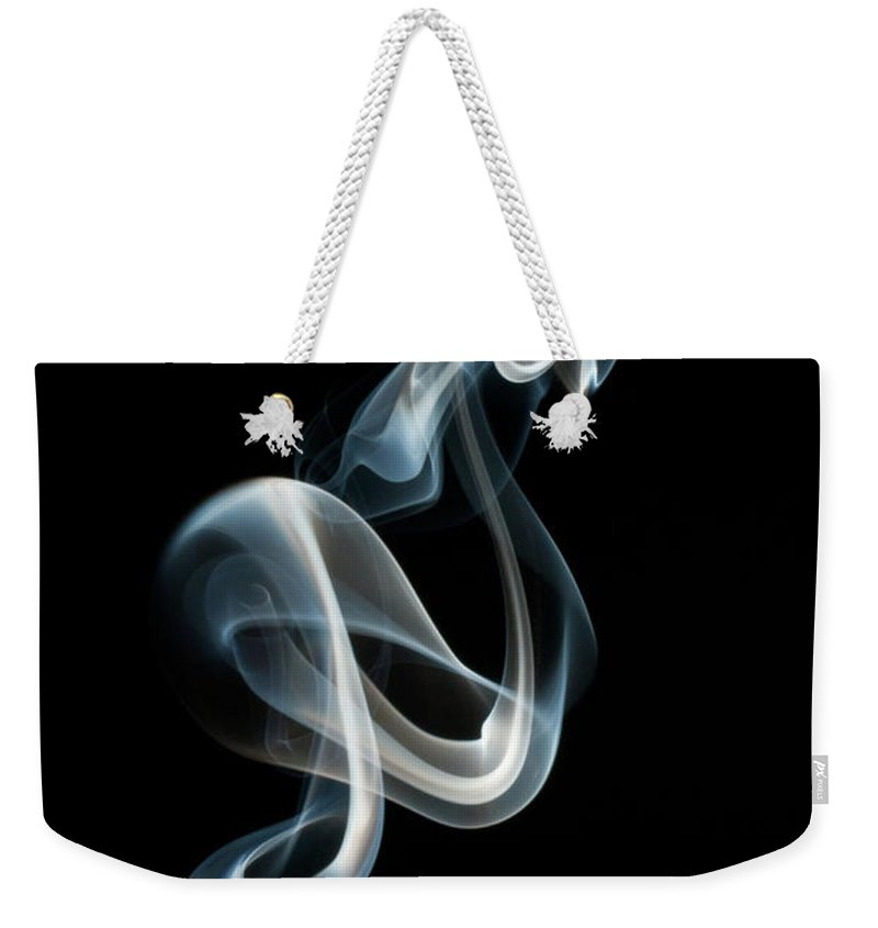 Black Background Weekender Tote Bag featuring the photograph Smoke by Vando Nascimento