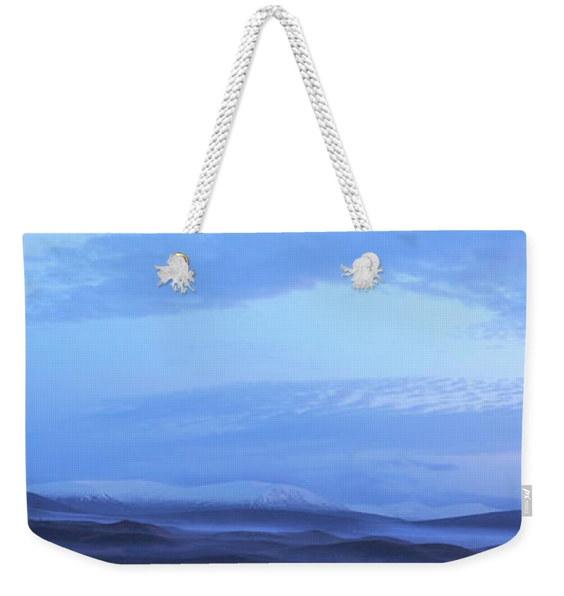 Tranquility Weekender Tote Bag featuring the photograph Snow Covered Hills And Mist At Dawn by Jeremy Walker