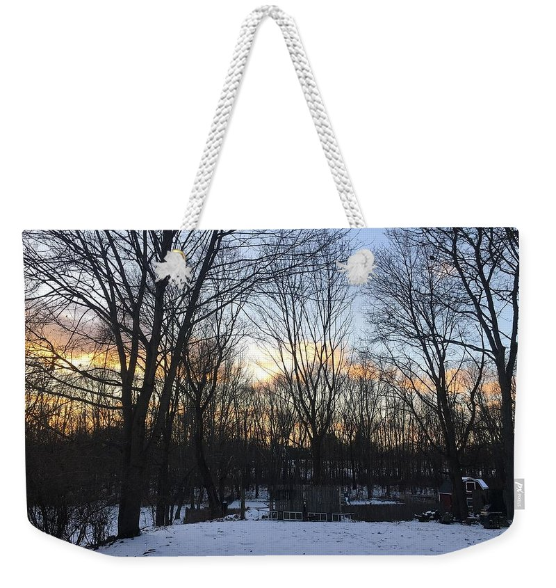 Weekender Tote Bag featuring the photograph Snow Day by Reagen Guthrie