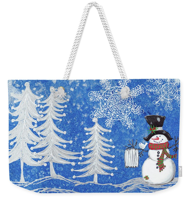 Winter Weekender Tote Bag featuring the mixed media Snowman's Christmas by Gina Ritter