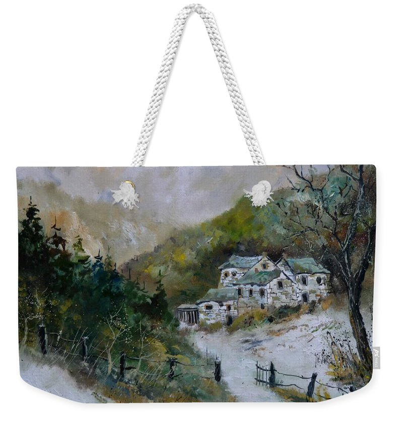 Landscape Weekender Tote Bag featuring the painting Snowy Natural Landscape by Pol Ledent