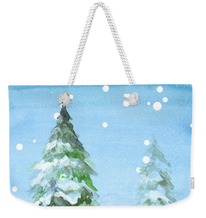 Snowy Weekender Tote Bag featuring the mixed media Snowy Pines by Lanie Loreth