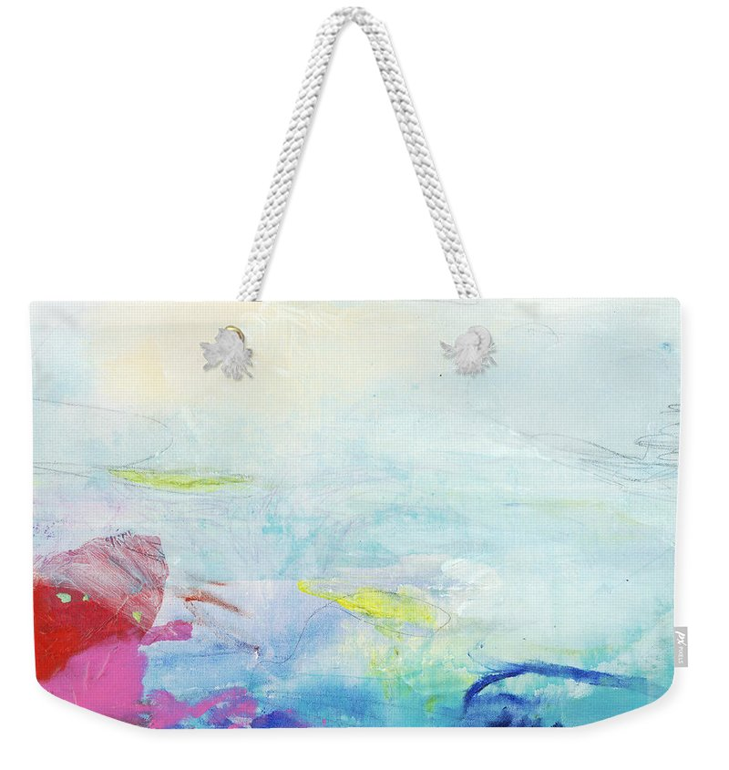 Abstract Weekender Tote Bag featuring the painting Somewhere Else by Claire Desjardins