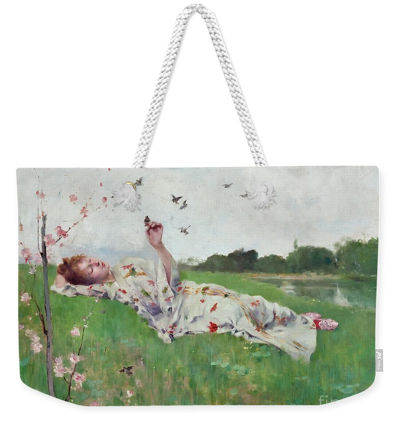 Songbirds Weekender Tote Bag featuring the painting Songbirds by Albert-Emile Artigue