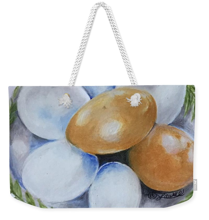 Eggs Weekender Tote Bag featuring the drawing Soon To Be Souffle by Laurel Adams