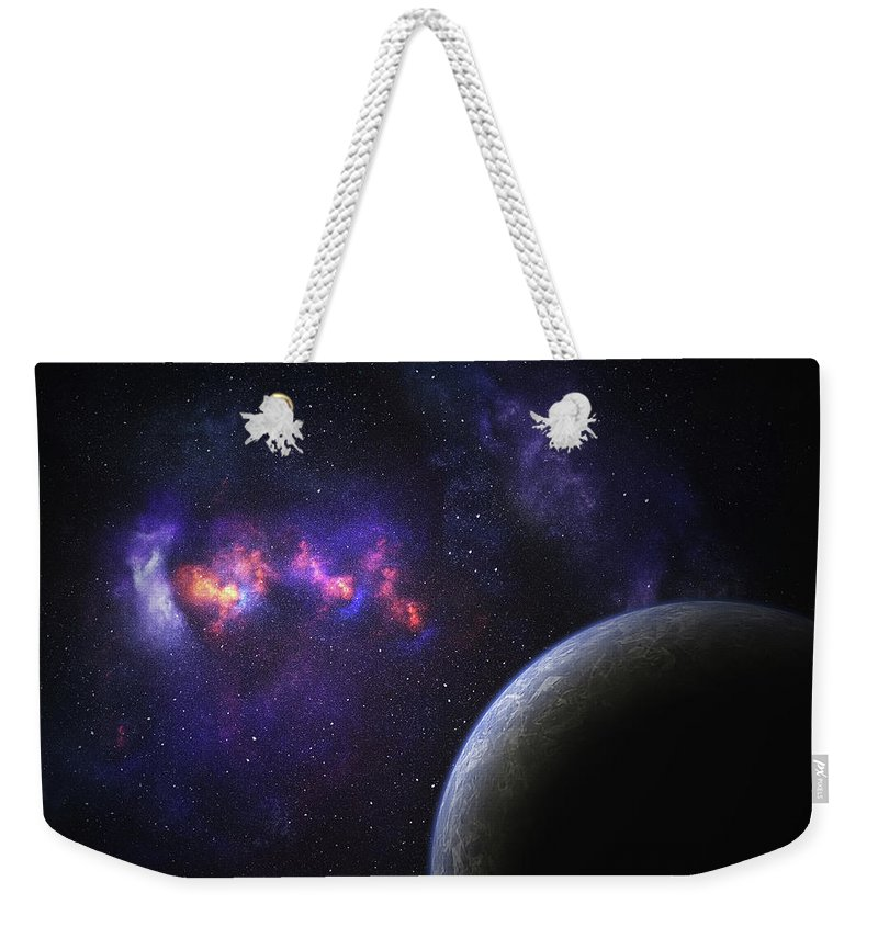 Orange Color Weekender Tote Bag featuring the photograph Space Planet by Sololos