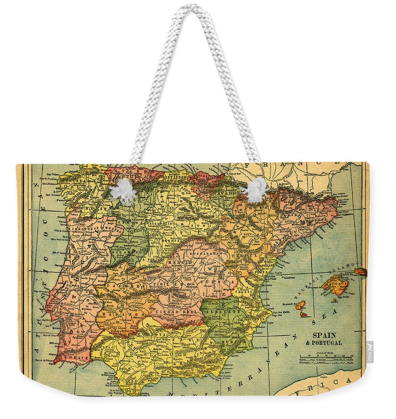 Weathered Weekender Tote Bag featuring the photograph Spain & Portugal Vintage Map by Belterz