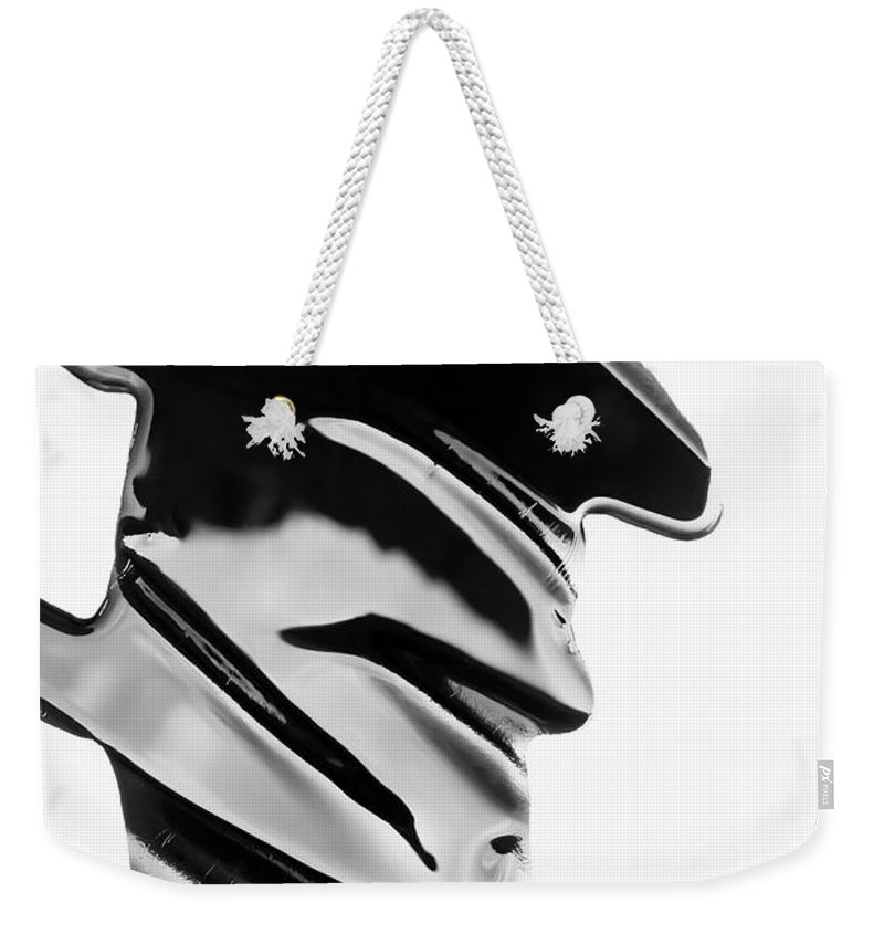 Problems Weekender Tote Bag featuring the photograph Spilled Black Paint Making An Abstract by Fstop Images - Ralf Hiemisch