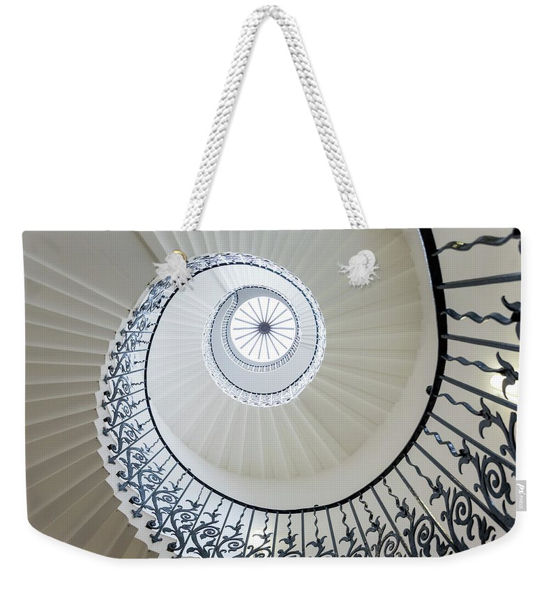 Queen's House Weekender Tote Bag featuring the photograph Spiral Staircase, The Queens House by Peter Adams