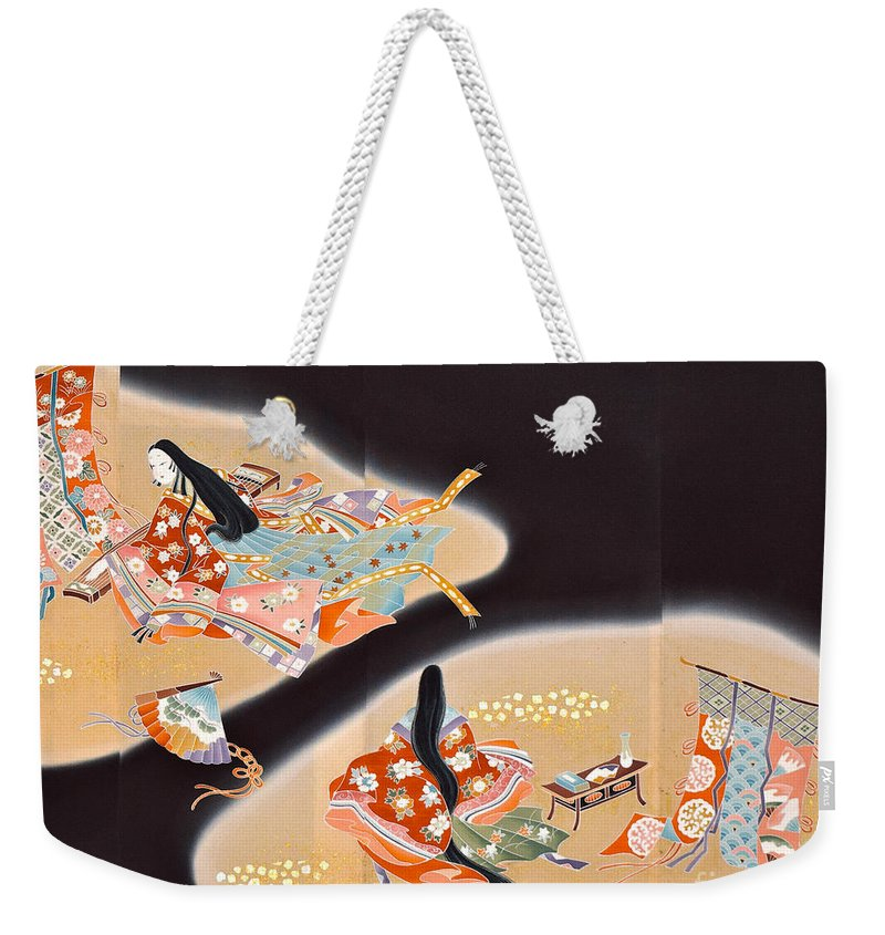 Weekender Tote Bag featuring the digital art Spirit of Japan T16 by Miho Kanamori