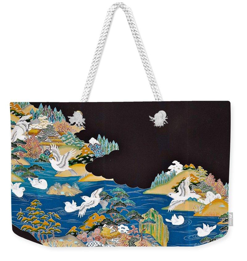 Weekender Tote Bag featuring the digital art Spirit of Japan T44 by Miho Kanamori