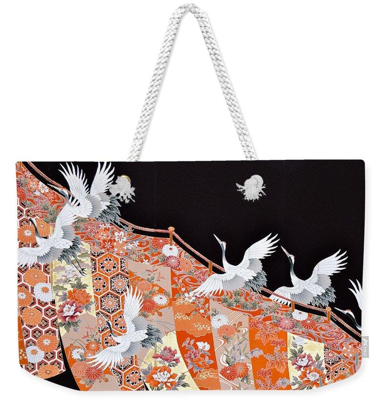 Weekender Tote Bag featuring the digital art Spirit of Japan T60 by Miho Kanamori
