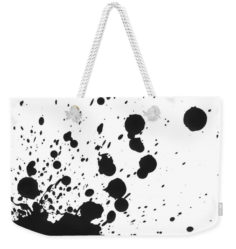 Art Weekender Tote Bag featuring the photograph Splattered Black Paint On White Canvas by Kevinruss