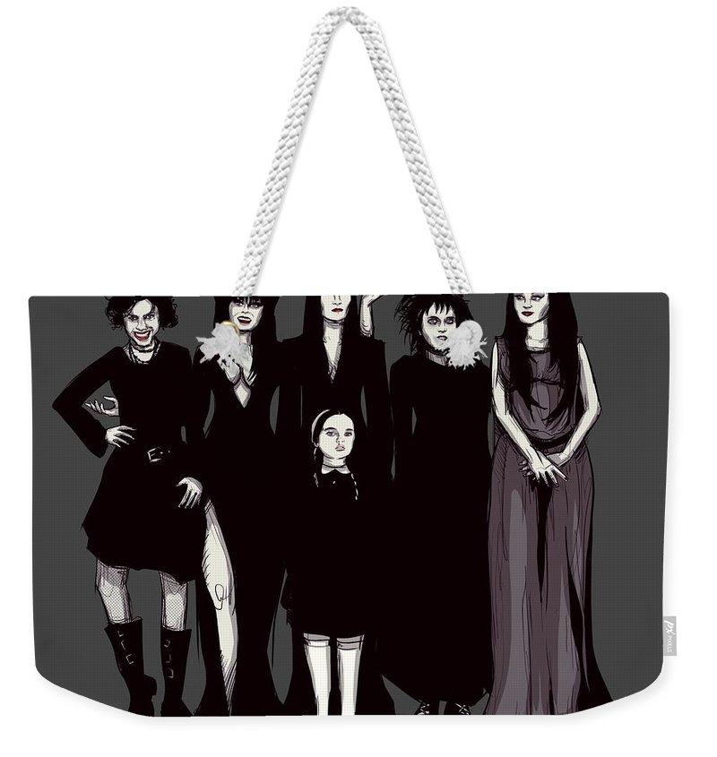 Craft Weekender Tote Bag featuring the drawing Spooky Girls by Ludwig Van Bacon