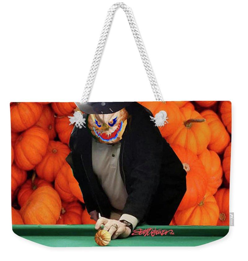 Spooky Pumpkin Pool Weekender Tote Bag featuring the digital art Spooky Pumpkin Pool by Seth Weaver