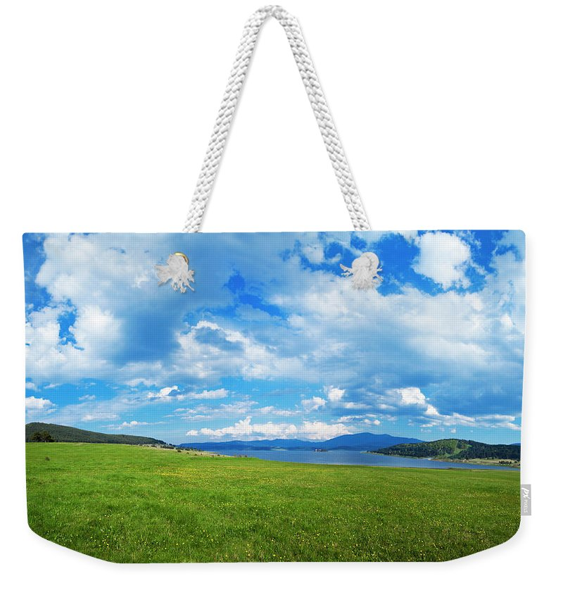 Scenics Weekender Tote Bag featuring the photograph Spring Flowers And Blue Sky by Eli asenova