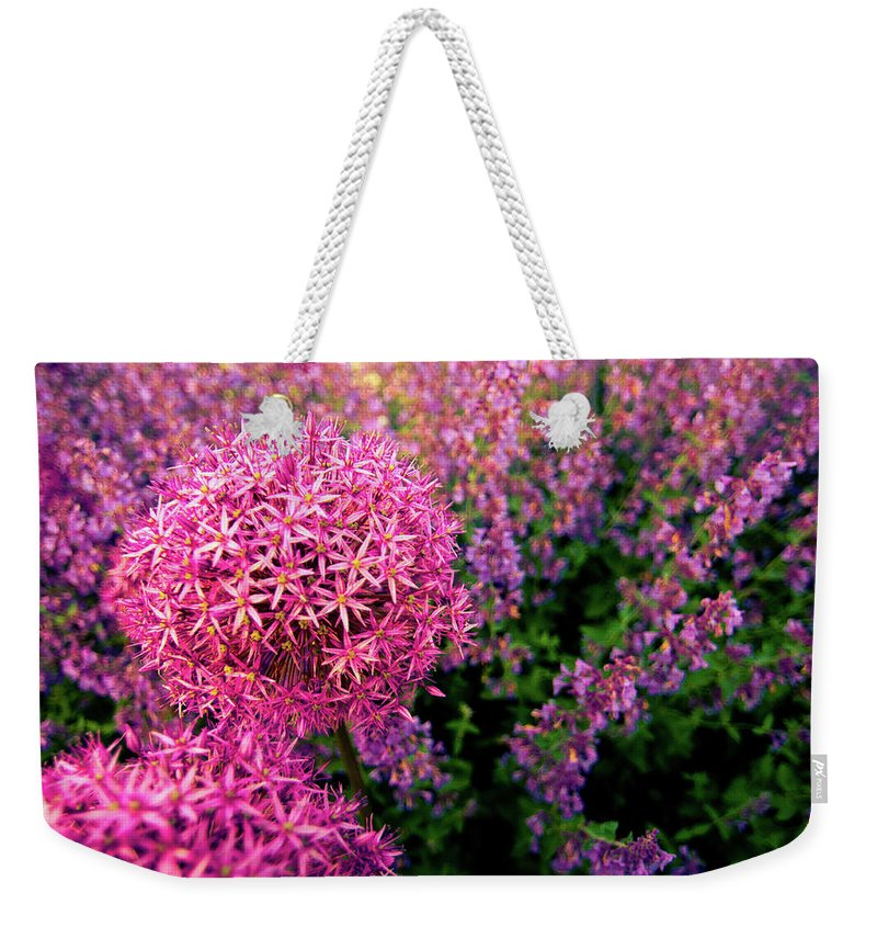 Purple Weekender Tote Bag featuring the photograph Spring Flowers In Garden by Flash Parker