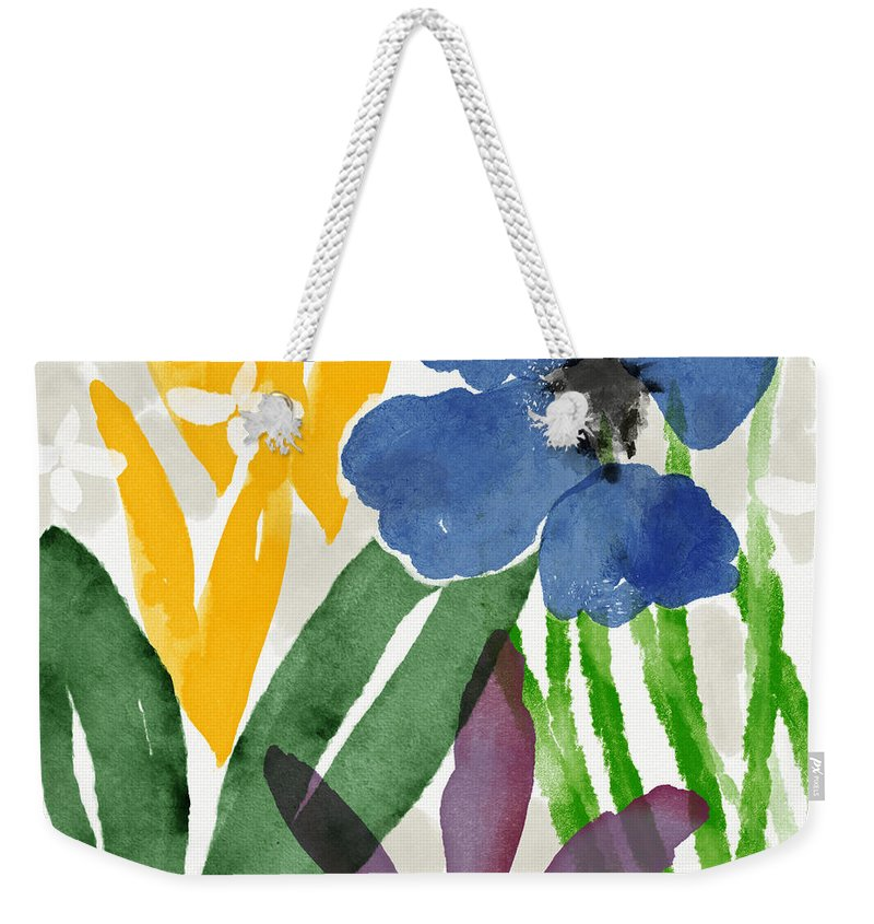 Garden Weekender Tote Bag featuring the mixed media Spring Garden Blue- Floral Art By Linda Woods by Linda Woods