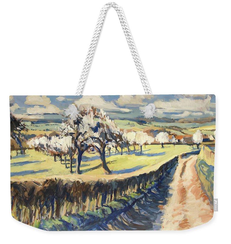 Bellet Weekender Tote Bag featuring the painting Spring In The Bellet Fruit Orchard by Nop Briex