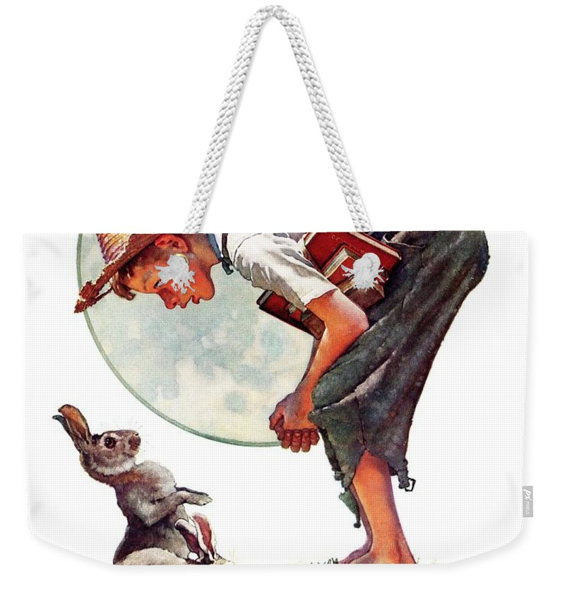 Books Weekender Tote Bag featuring the drawing springtime, 1935 Boy With Bunny by Norman Rockwell