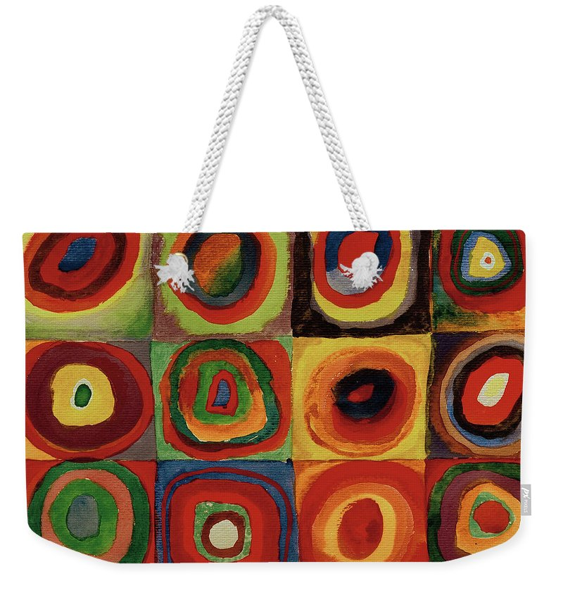 Wassily Weekender Tote Bag featuring the painting Squares With Concentric Circles 1913 by Wassily Kandinsky