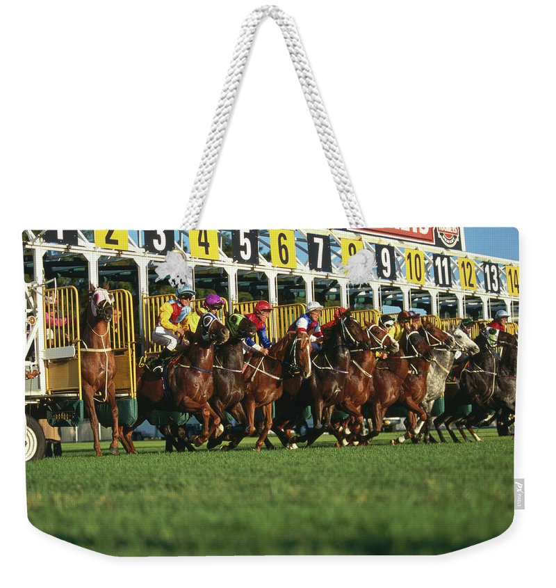 Horse Weekender Tote Bag featuring the photograph Start Of Horse Race, Sydney, New South by Oliver Strewe