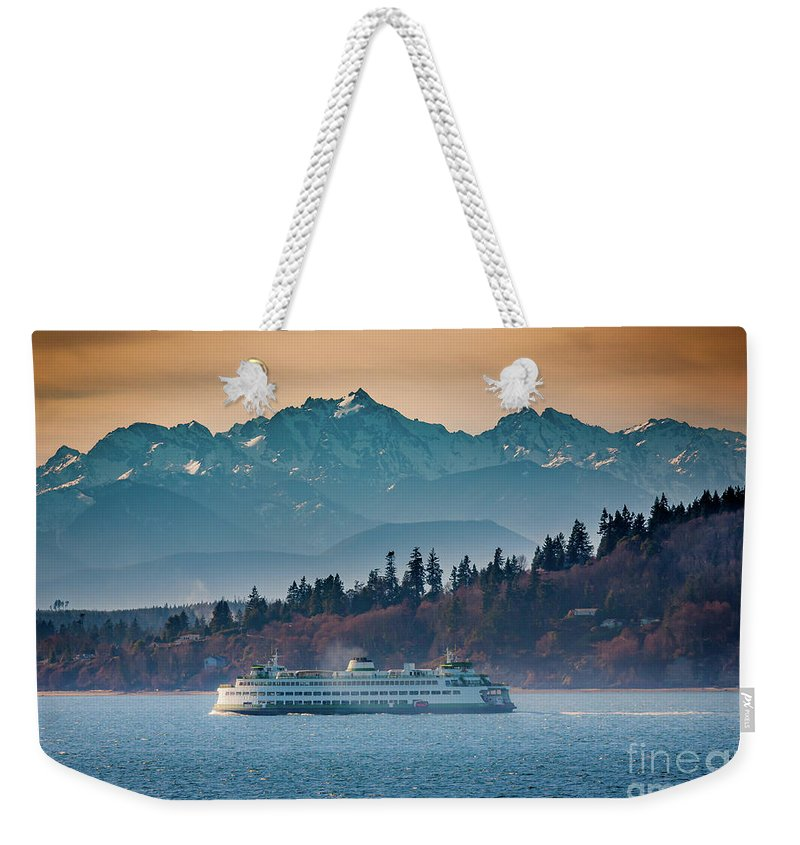 Seattle Weekender Tote Bag featuring the photograph State Ferry and the Olympics by Inge Johnsson