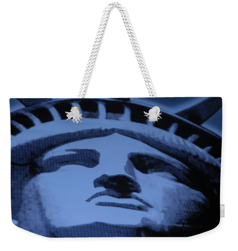 Statue Of Liberty Weekender Tote Bag featuring the photograph Statue Of Liberty In Cyan by Rob Hans