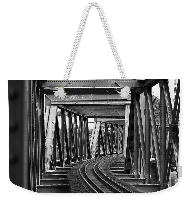Railroad Track Weekender Tote Bag featuring the photograph Steel Girder Railway Bridge by Peterjseager