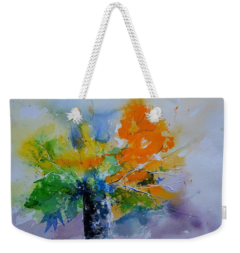 Flowers Weekender Tote Bag featuring the painting Still Life Watercolor 549110 by Pol Ledent