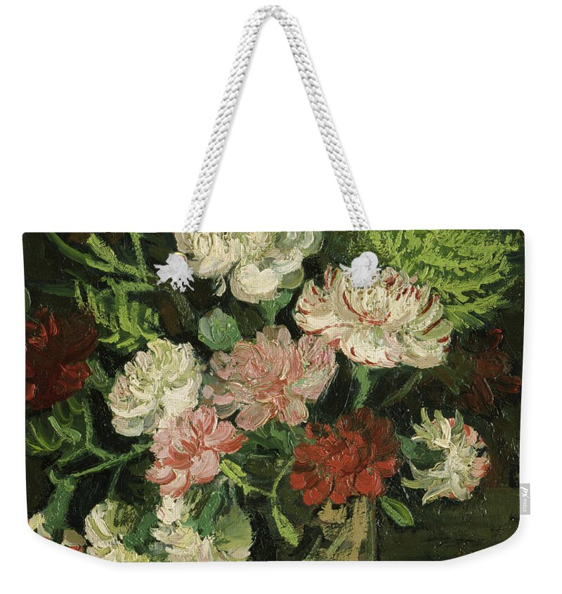 Vincent Van Gogh Weekender Tote Bag featuring the painting Still Life With Carnations, 1886 by Vincent Van Gogh