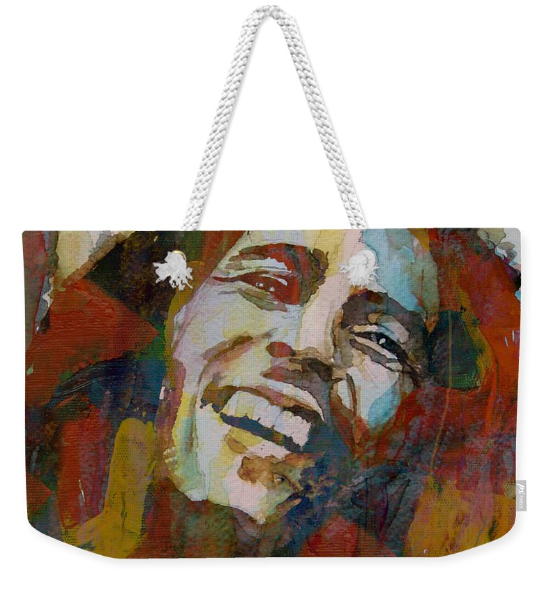 Bob Marley Weekender Tote Bag featuring the painting Stir It Up - Retro - Bob Marley by Paul Lovering