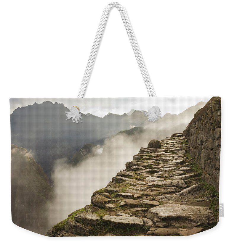 Machu Picchu Weekender Tote Bag featuring the photograph Stone Inca Trail by David Madison
