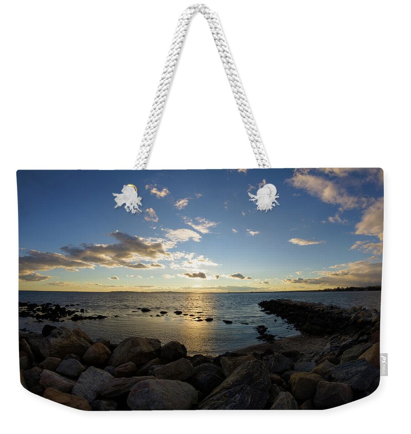 Stonington Point Weekender Tote Bag featuring the photograph Stonington Point On The Rocks - Stonington Ct by Kirkodd Photography Of New England