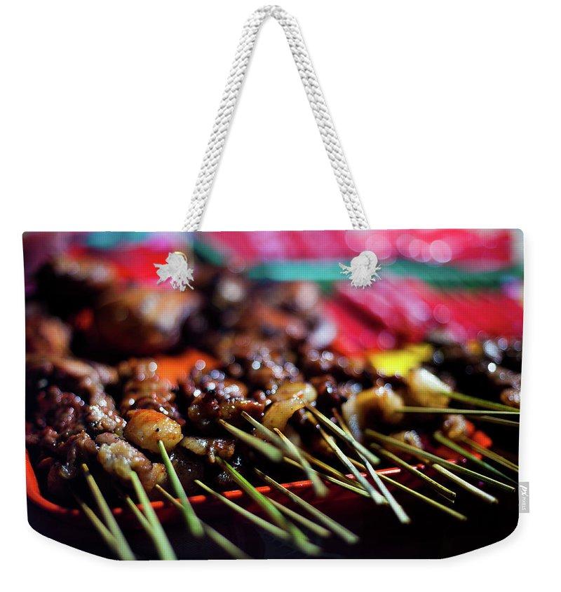 Outdoors Weekender Tote Bag featuring the photograph Street Food In Philippines - Skewers by Fototrav