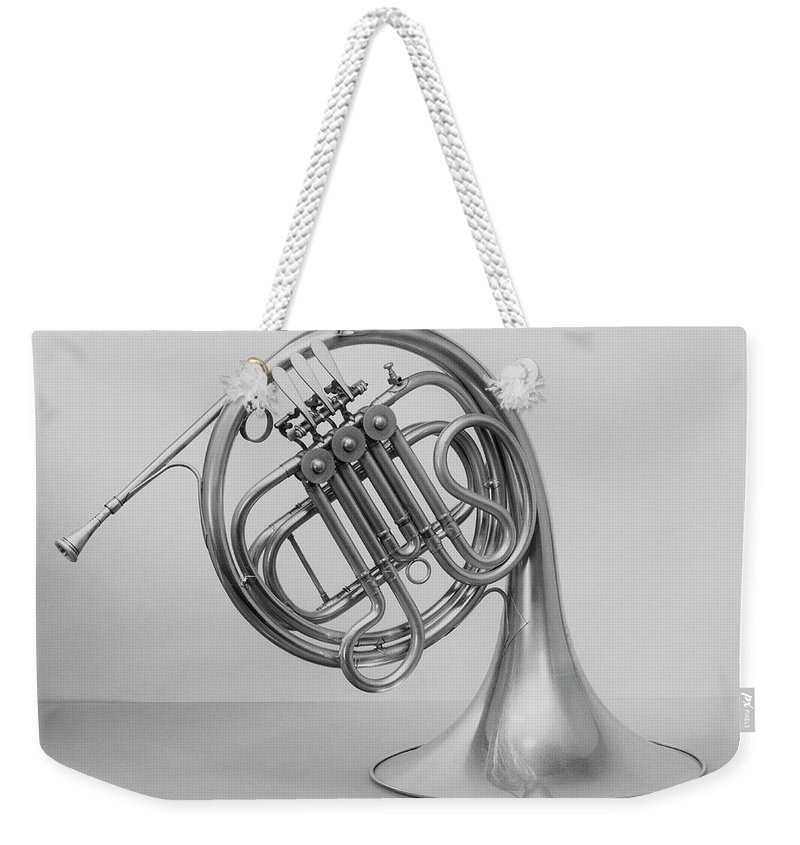 White Background Weekender Tote Bag featuring the photograph Studio Shot Of French Horn by George Marks