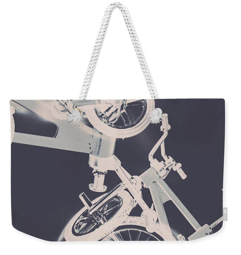 Abstract Weekender Tote Bag featuring the photograph Stunt Bike Trickery by Jorgo Photography - Wall Art Gallery