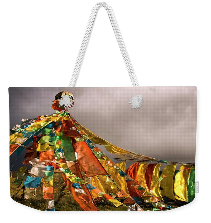 Chinese Culture Weekender Tote Bag featuring the photograph Stupa, Buddhist Altar In Tibet, Flags by Stefano Tronci
