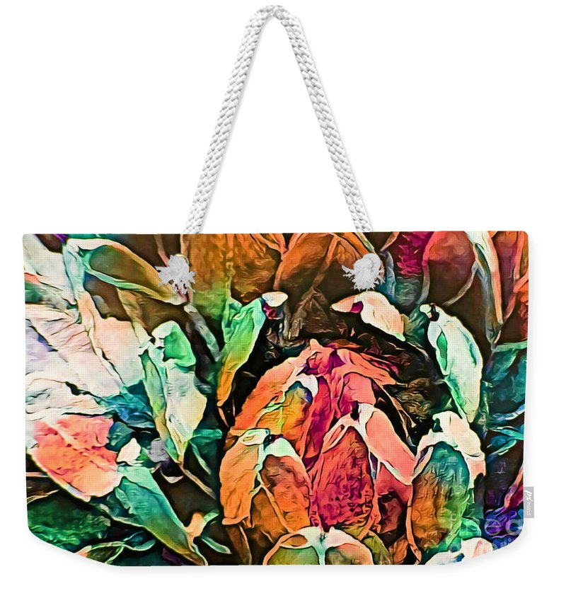 Succulent Abstract #2 This Image Has Been Created By Applying Digital Effects To An Original Photograph Giving It New Dimensions And Textures. Weekender Tote Bag featuring the mixed media Succulent Abstract #2 by Trudee Hunter