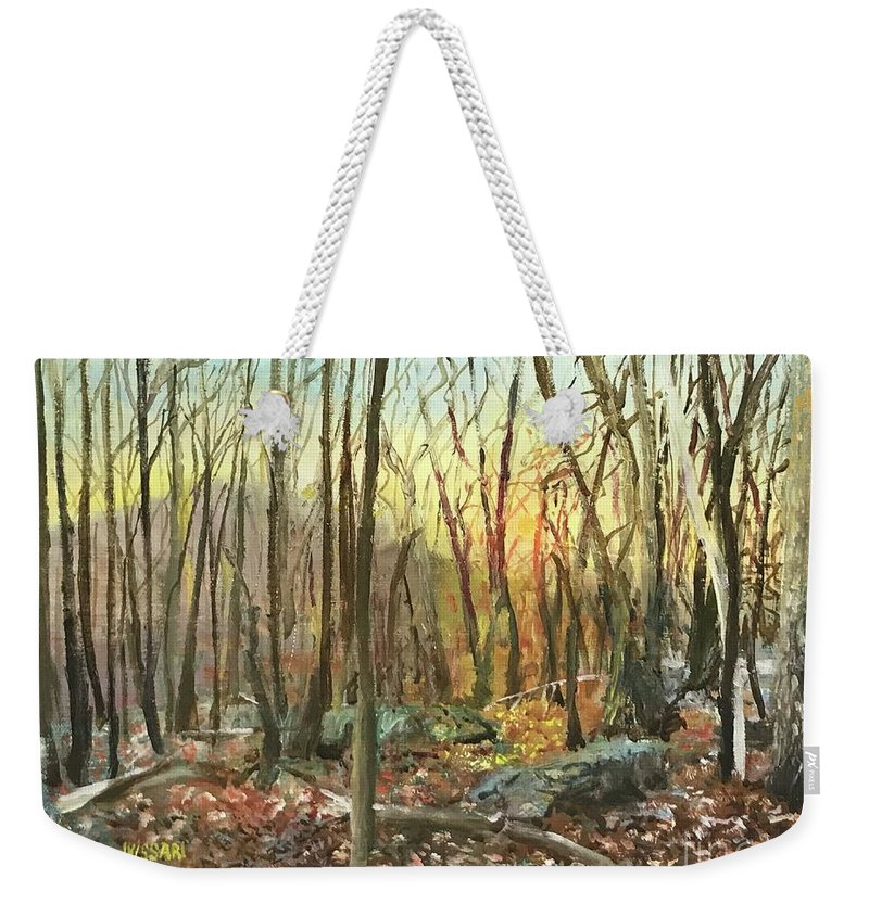 A Friend Be Art Oil Painting Of Sugarloaf Mountain In Montgomery And Frederick County Maryland. Weekender Tote Bag featuring the painting Sugarloaf Mountain #15 by J Vissari