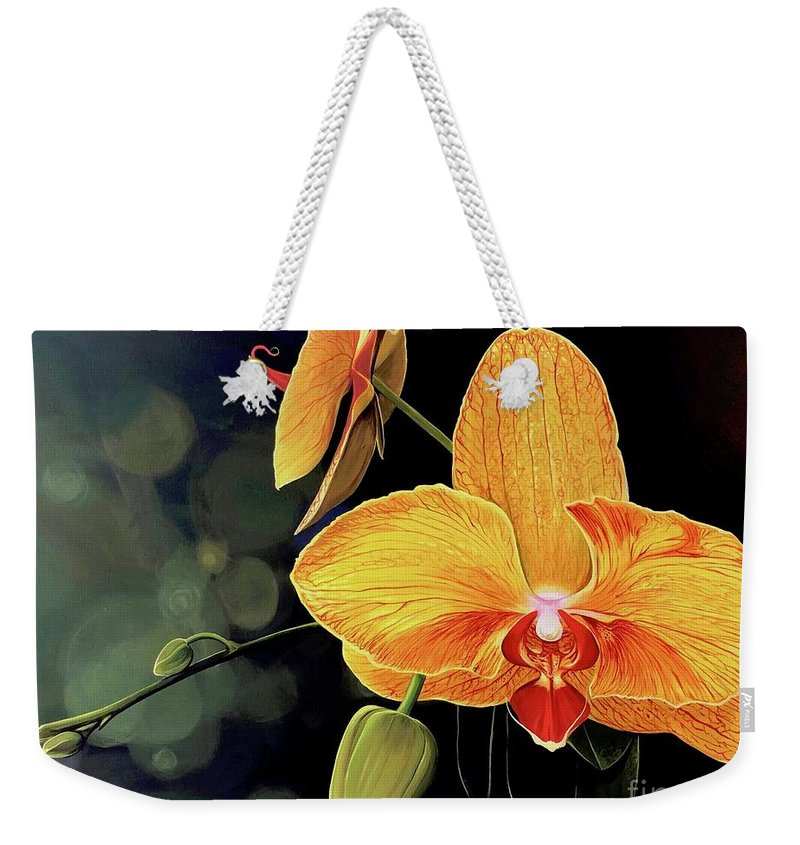 Floral Weekender Tote Bag featuring the painting Summer Night by Hunter Jay