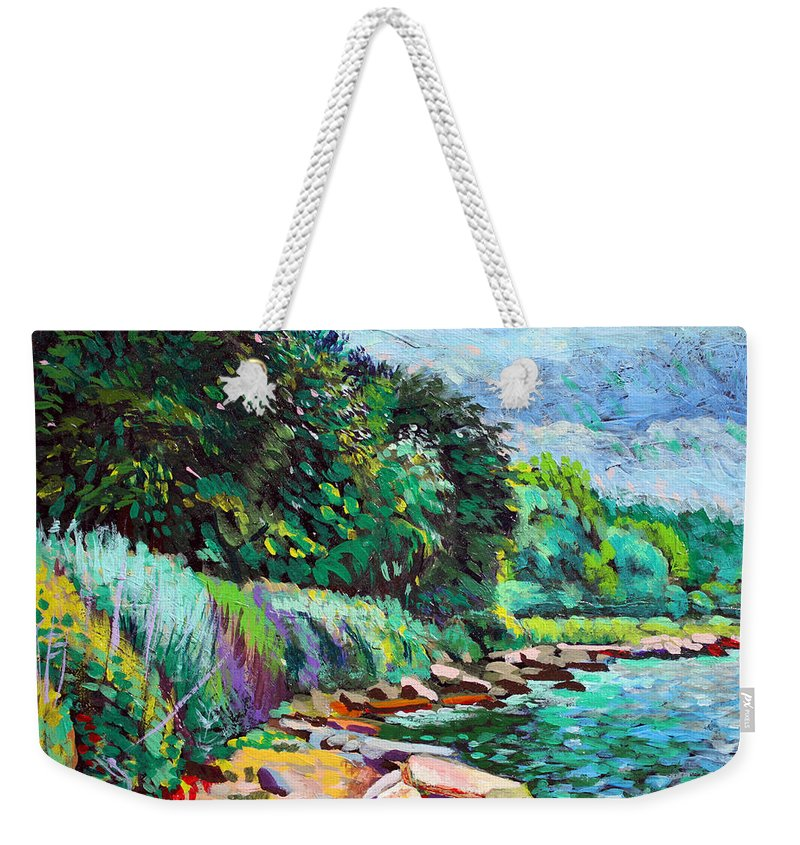 Tranquility Weekender Tote Bag featuring the digital art Summer Shore Of Hudson River, New York by Charles Harker
