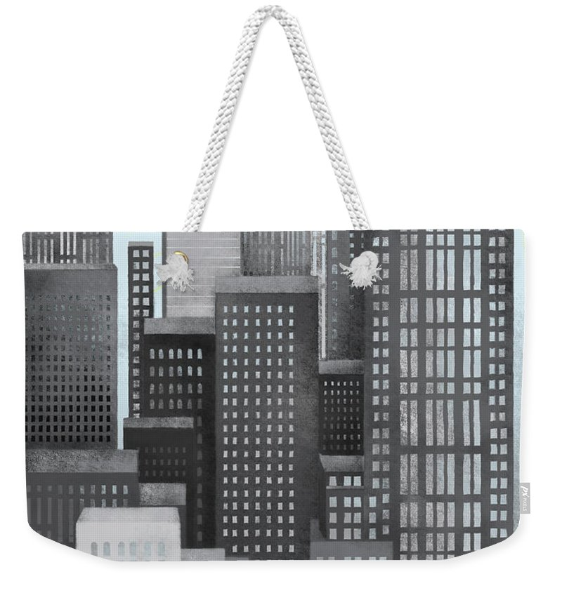 Part Of A Series Weekender Tote Bag featuring the digital art Sun And Skyscrapers by Jutta Kuss