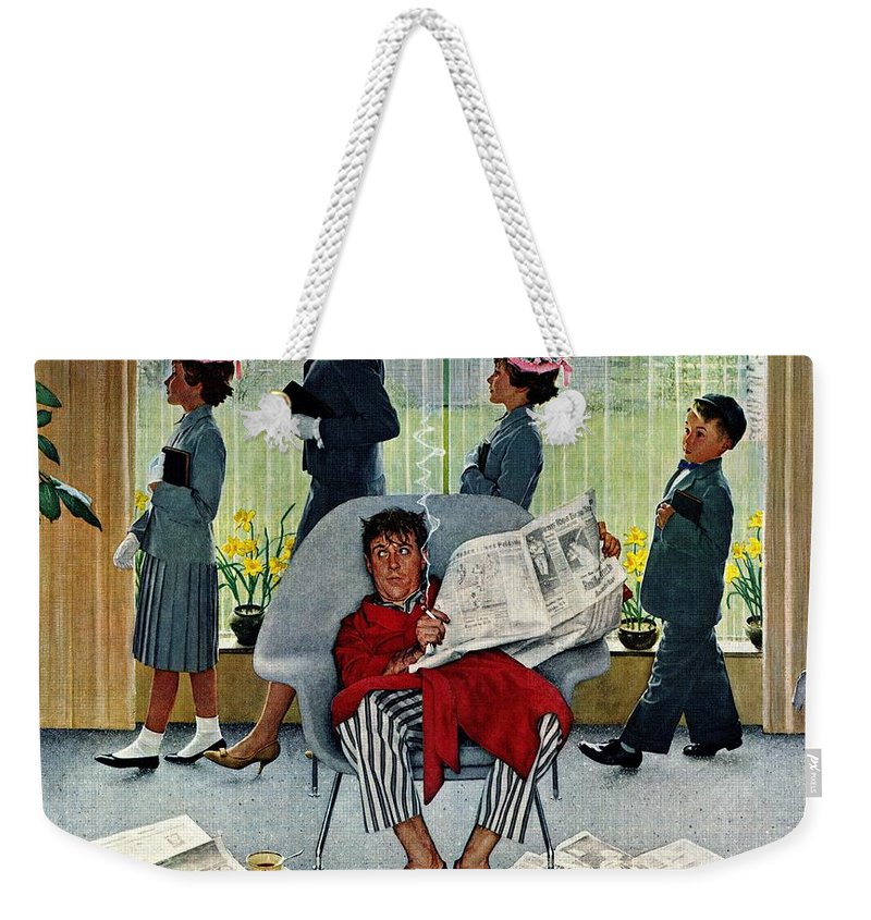 Church Weekender Tote Bag featuring the drawing Sunday Morning by Norman Rockwell