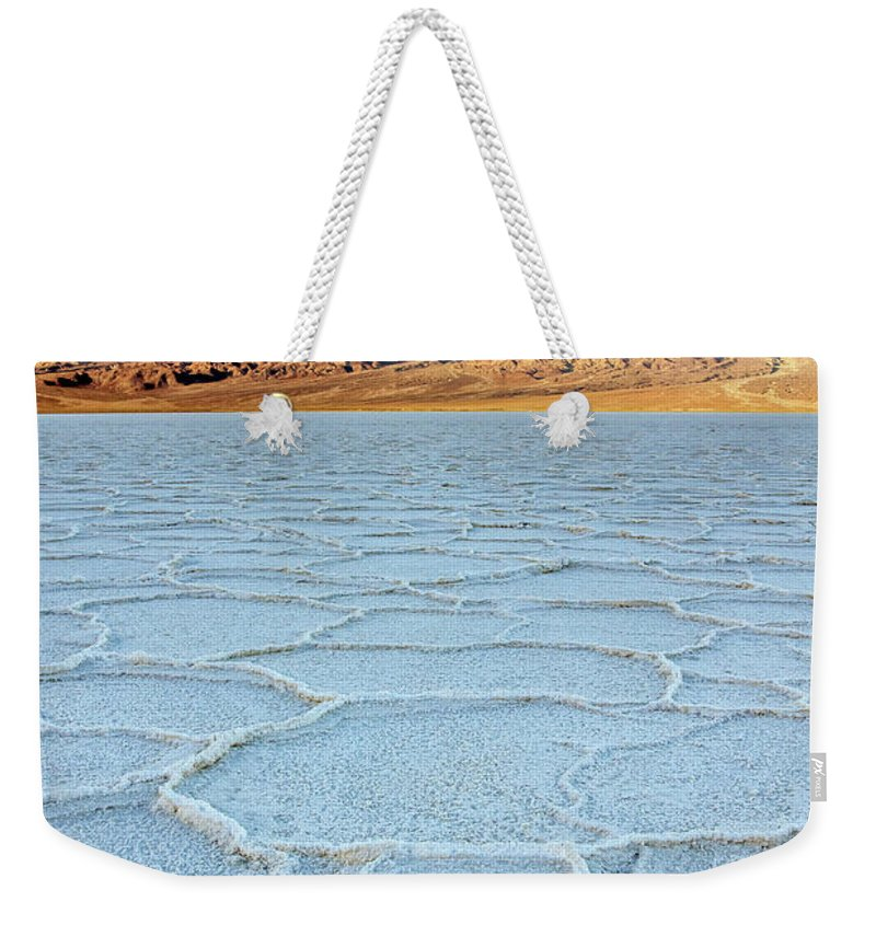 Scenics Weekender Tote Bag featuring the photograph Sunrise At Badwater, Death Valley by Pierre Leclerc Photography